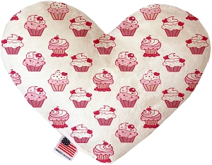 Pink Whimsy Cupcakes 8 inch Heart Dog Toy